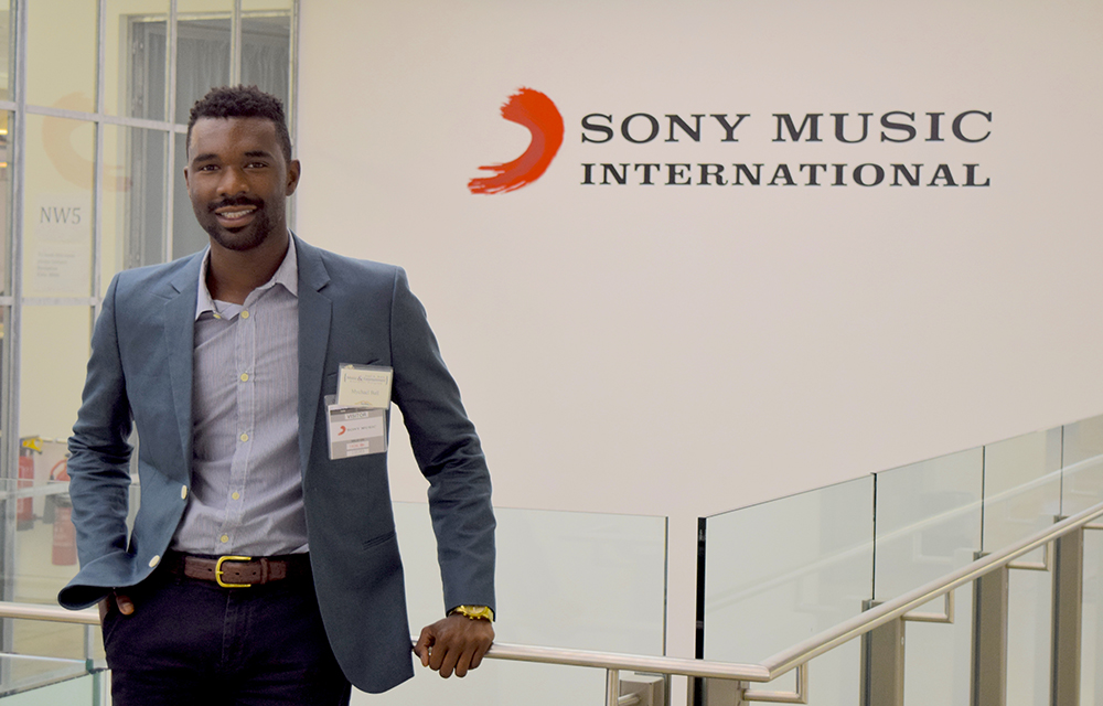 MEBUS alumni, Mychael Ball, at Sony Music International offices in London.