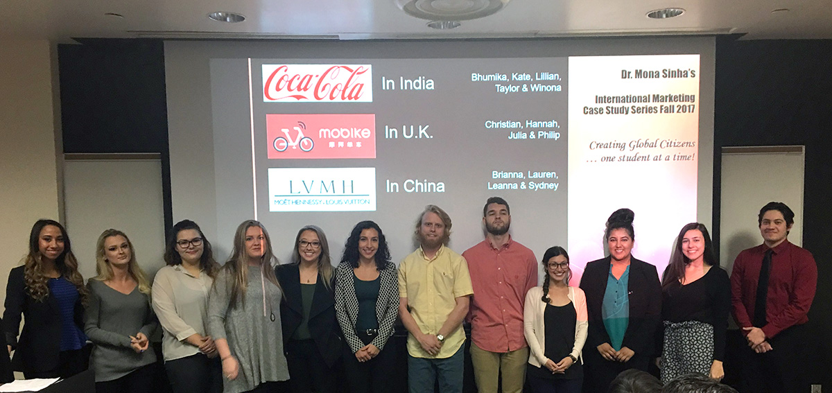 Dr. Mona Sinha's undergraduate International Marketing class
